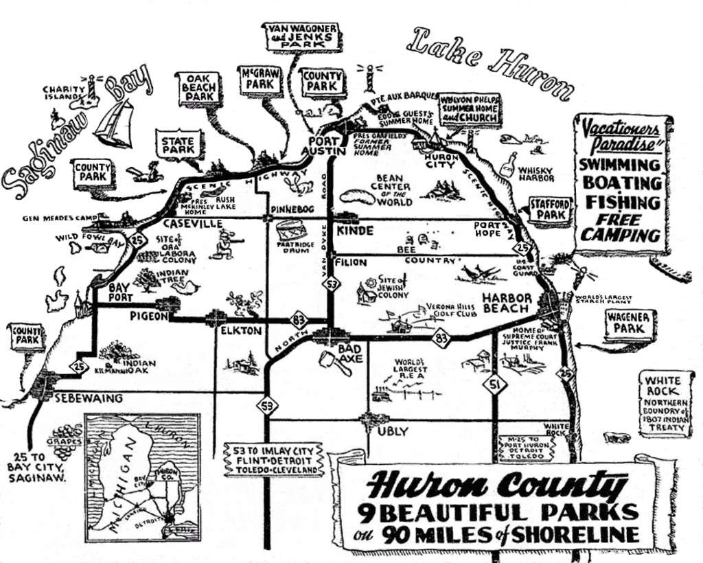 1940 Huron County Travel Map